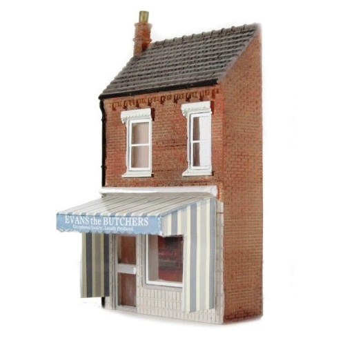 Bachmann 44-209 - Low Relief Butchers Shop with Awning - 00 Gauge