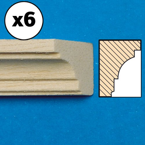 7016 - Unvarnished Lightwood Cornice, mitred, 6 pieces