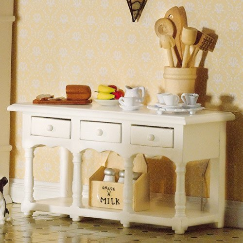 4197 - Victorian White Sideboard with Shelf