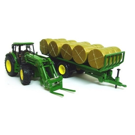 Siku 3862 - John Deere Tractor with Trailer & Bales - Scale 1:32