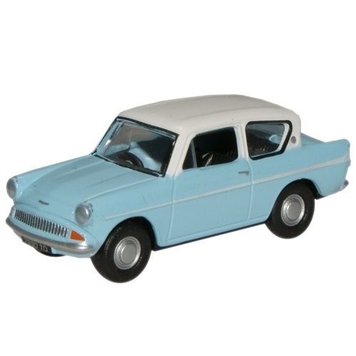 Oxford-76ANG105007-Ford-Anglia-Lt.Blue-Ermine-White