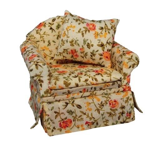 DF1479 - Cream Floral Armchair
