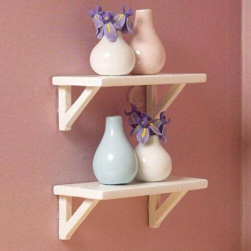 DH 5702 - Small White Wall Shelves, 2 pcs